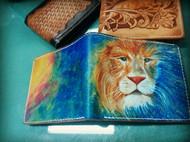 皮雕+手染 钱包 狮子座