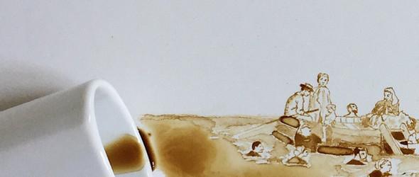 她用喝剩下的咖啡,手绘一副副动感的画 | Giulia Bernardelli