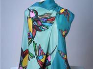 斑斓·飞鸟原创真丝方巾