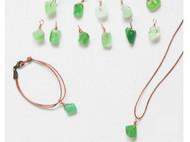 原创设计 绿玛瑙  进口皮绳 细项链 手链 女款 不规则 随机发