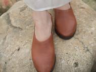隐机者 头层牛皮鞋 真皮擦色一脚蹬懒人鞋 休闲平底鞋单鞋女式鞋