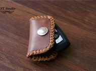 植鞣牛皮定制车钥匙包 纯手工植鞣编织车钥匙包