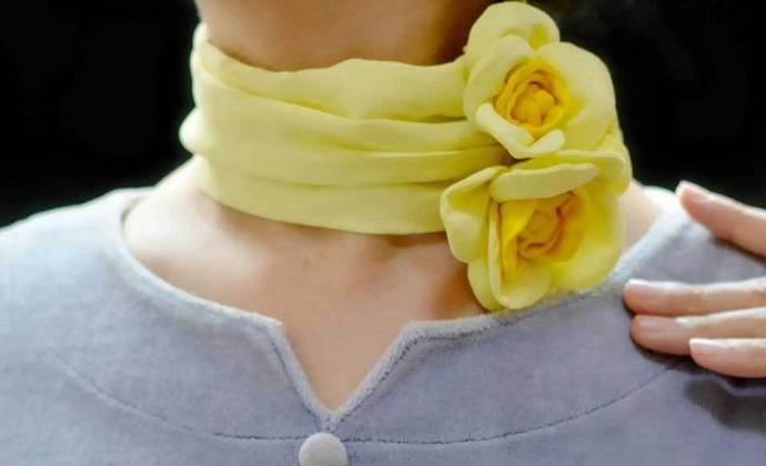 月季皇后 - 艺术丝巾项链 - 穿戴艺术 -甜美清新 - 月季软雕塑丝巾 - 真丝艺术项链