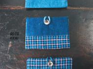 蓝染棉贝壳扣卡包(名片夹)