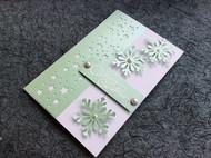 文艺青年系列 DIY手工贺卡特种纸 圣诞卡 雪花款 淡绿色