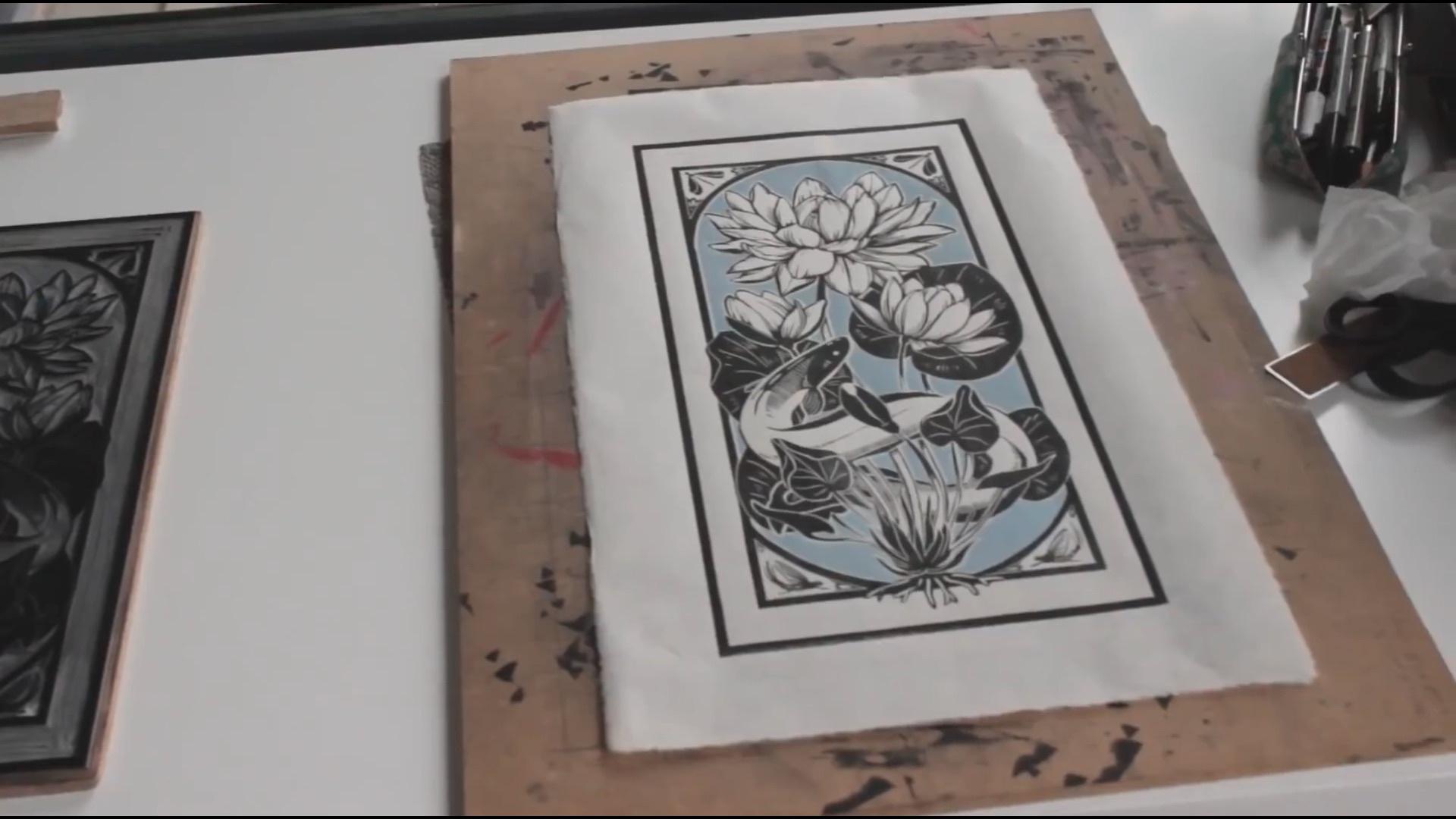 麻胶版视频教程:双色麻胶版版画创作过程