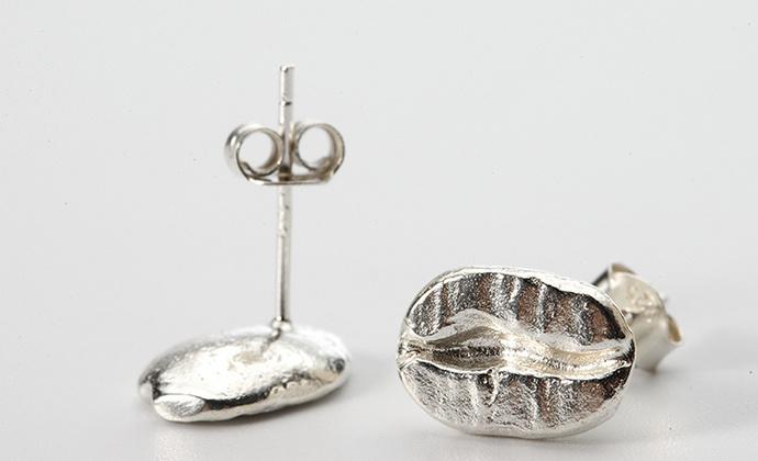 偶屿925纯银咖啡豆耳钉
