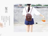 复古双肩包pu韩版文艺包包英伦两用迷你小背包学院风书包森系包女