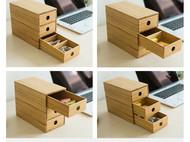梵瀚桌面收纳盒 抽屉式创意实木客厅小储物柜 迷你办公室置物架子