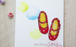 水彩+拼布+刺绣,手工制作简单漂亮的红鞋子卡片diy教程