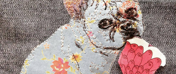 刺绣与拼布结合的宠物肖像 by @rocketfullofpie