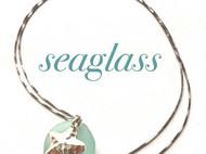 天然海玻璃手工银项链