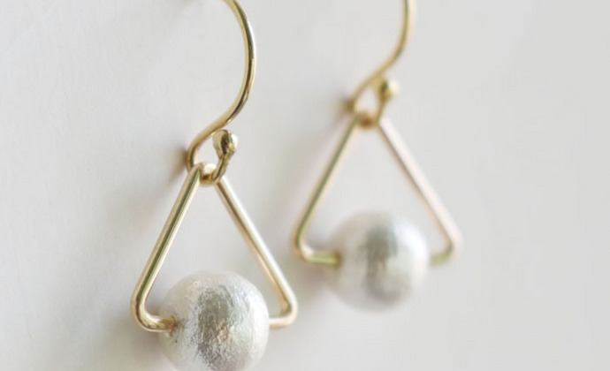 手工日本棉花珍珠几何耳钩 美国14K包金耳钉 简洁大方