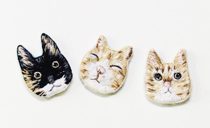 大海手作 手工刺绣卖萌猫咪胸针