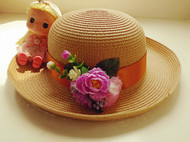 原创森系花朵清新大沿草帽女夏天大檐遮阳卷边出游沙滩帽