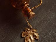 复古金色叶子项链