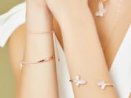 CAMBAS刊芭思 自由蝴蝶开口手镯女玫瑰金色 轻奢设计纯银手饰品