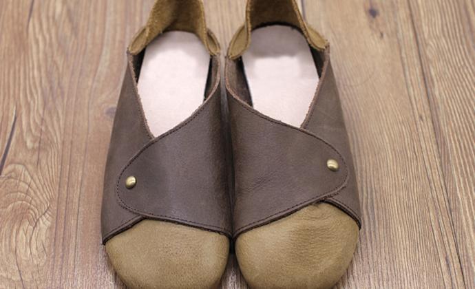 手工女鞋 真皮禅意复古扣带懒人单鞋