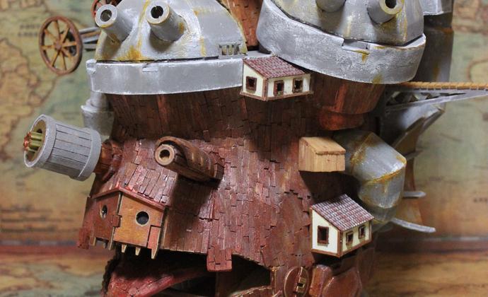 纯手工木质模型:哈尔的移动城堡
