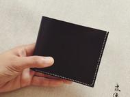 皮侠客PXK-简约商务黑色短夹 意大利植鞣革 纯手工染色缝制