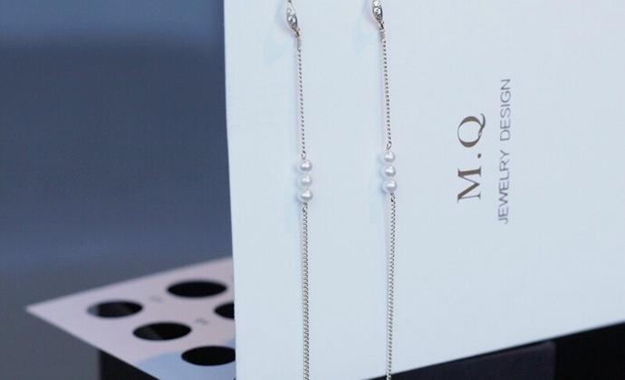 MQ奎妮小姐 小可爱天然珍珠长耳线/耳钉
