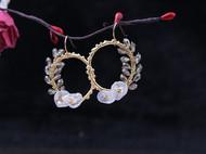 设计师手作天然异形珍珠编织圆环耳钩耳环女
