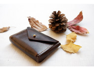 秋瑟 手工皮具 Find寻手缝 咖啡色卡包