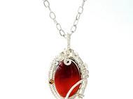 赭紅瑪瑙編織墬飾項鍊