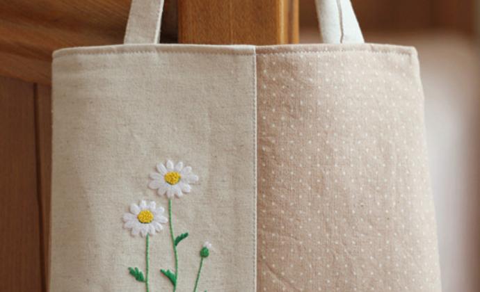 牛眼菊刺绣小提包