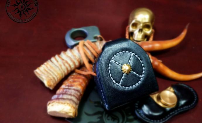 骄阳手工皮具指尖陀螺 美国成人EDC 左轮陀螺皮套纯手工皮套定制