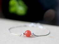S925银盒子链细手链配天然南红玛瑙樱桃红圆珠