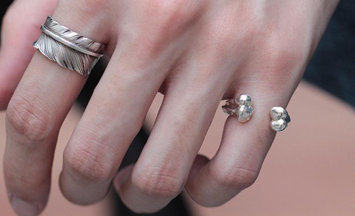 偶屿925银骨子戒指