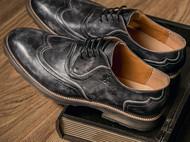 进口头层牛皮轻奢休闲新潮复古低帮个性青年男人皮鞋