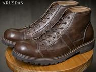 秋冬新款英伦复古厚底牛皮大头高帮真皮马丁靴工装靴