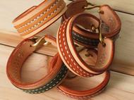 纯手工 植鞣革黄铜扣多脂鞍革 Vintage复古牛皮缝制手环手镯