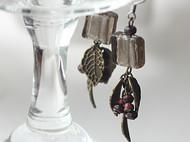 【LXB私人设计】复古 银粉琉璃耳环