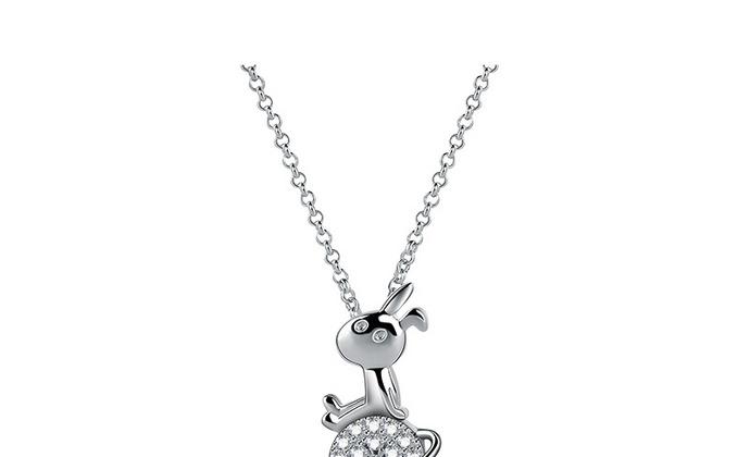 CAMBAS刊芭思 银镶晶钻星球兔项链女锁骨链 毛衣链纯银简约气质