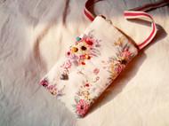 日式形染山茶花宝石福袋银坠子手机袋