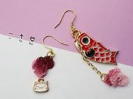 【一个碗】猫与锦鲤细蕾丝线花DIY钩编耳坠耳钉耳饰创意礼物成品