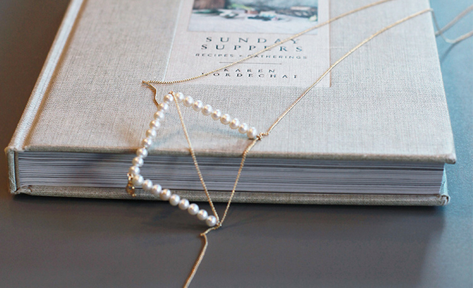 M.Q奎妮小姐 几何系列·方形/天然珍珠项链长链