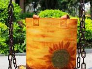 植物科目系列:菊科-欣欣向荣向日葵 单肩双带手工皮长挎包(琴谱包) [FS-KB057]