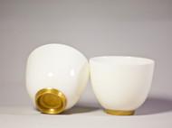 金镶玉 纯手工玉瓷主人杯一只
