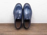 守根38至43尺码纯手工古法染色缝线技术蓝色商务系带牛皮底皮鞋