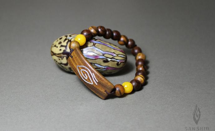 善术SANSHIO原创设计木镶银手链纯银文艺范手串佛珠民族风包邮