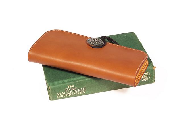 银扣绕带式日式长款钱包 多卡位 纯手工进口植鞣头层牛皮