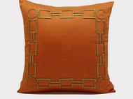 丽瑾家居/经典爱马仕橘色亚麻材质纯手工管珠几何图形靠垫抱枕靠包含芯/2件包邮