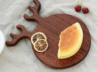 木说 沙比利木整木卡通鹿角菜板 水果板面包板 手工实木辅食板