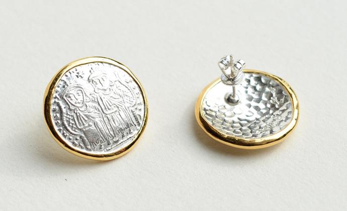 偶屿925纯银镀金双人币耳钉