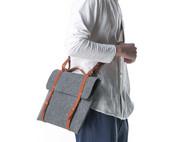 索然苹果Macbook Air Pro 11 12 13 15寸羊毛毡植鞣皮手提单肩斜背电脑包