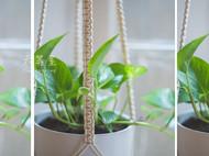 定制 六等星 创意美式乡村手工编织盆栽花盆吊兰网壁饰 花器悬挂装饰